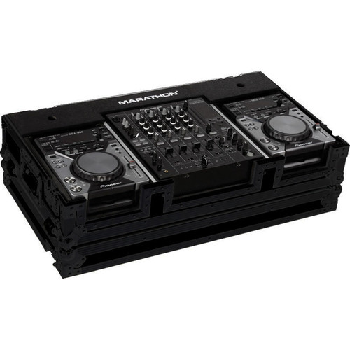 "Marathon MA-CDJ12WBLK Flight Road Coffin Case for Two Turntables and One 10"" Mixer (Black)"