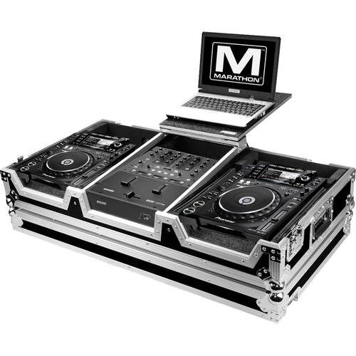 Marathon Flight Road Case for 2 Large Format Players and Rane 61 Serato Mixer with Laptop Shelf