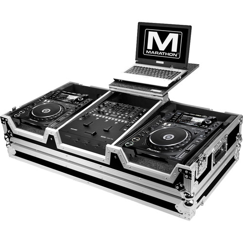 Marathon Flight Road Case for 2 Large Format Players and Rane 62 Serato Mixer with Laptop Shelf