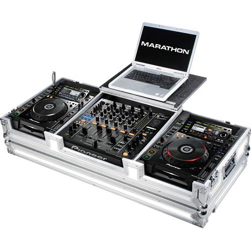 Marathon White Series Case for Pioneer CDJ-2000+DJM-900 Nexus Mixer & 2 Large-Format CD-Player with Laptop Shelf & Wheels
