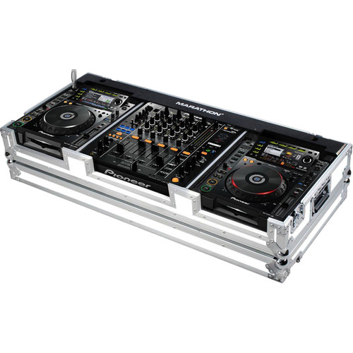 Marathon White Series Case for Pioneer CDJ-2000+DJM-900 Nexus Mixer & 2 Large-Format CD-Player with Wheels