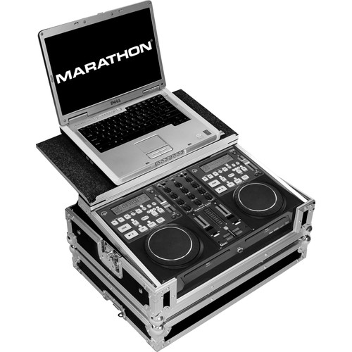 Marathon Fight Road Case with Laptop Shelf for American Audio CD Mix Station