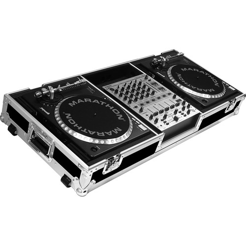 """Marathon Battle-Style Coffin Case for 2 Turntables & 12"""" Mixer with Wheels"""