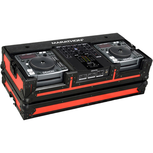 Marathon MA-DNSX1200BLKRED Flight Road CD Player Case (Black and Red)