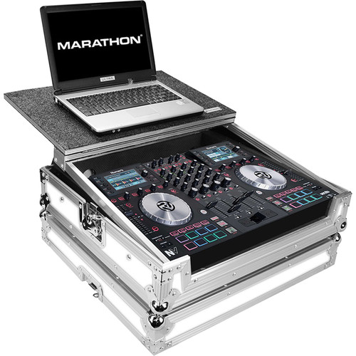 Marathon White Series Flight Road Case with Laptop Shelf for One Numark NV Serato DJ Music Controller