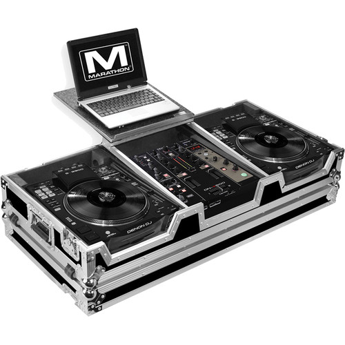 """Marathon Case for 2 Large Format CD Players and 10"""" Mixer (with Laptop Shelf)"""