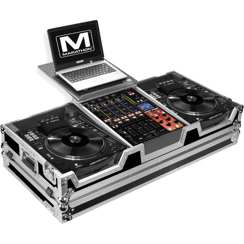 """Marathon Case for 2 Large Format CD Players and 12"""" Mixer (with Laptop Shelf)"""