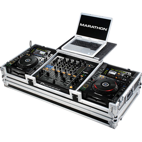 Marathon Battle-Style Case for Pioneer CDJ-2000+DJM-900 Mixer & 2 Large-Format CD-Players with Laptop Shelf & Wheels