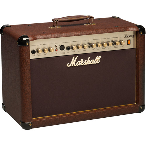 "Marshall Amplification AS50D - 50W 2x8"" 2-Channel Acoustic Guitar Combo Amplifier with FX (Brown)"