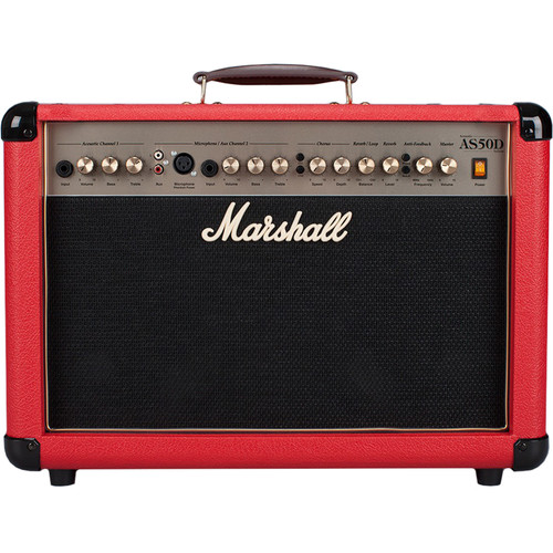 "Marshall Amplification AS50D - 50W 2x8"" 2-Channel Acoustic Guitar Combo Amplifier with FX (Special Edition Oxblood)"
