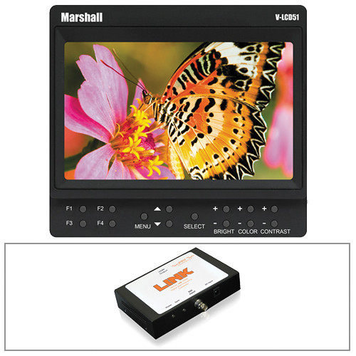 "Marshall Electronics V-LCD51 5"" Monitor Kit with Canon LP-E6 Battery and SDI to HDMI Converter"