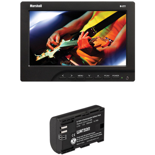 "Marshall Electronics M-CT7 7"" LCD On-Camera HDMI Monitor Kit with Two Batteries and Charger (LP-E6)"