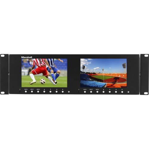 """Marshall Electronics Dual 7"""" 1280 x 800 Rackmount LCD Display"""