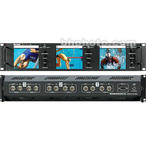 """Marshall Electronics V-R43P 3 x 4"""" LCD Monitors in a Rack Mount"""