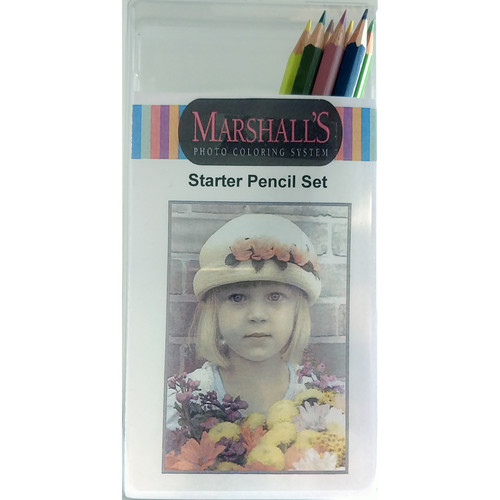 Marshall Retouching Photo Pencil Set 9 Assorted Colors with Block Eraser