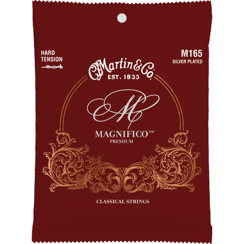 MARTIN Magnifico M165 Hard Tension Silver-Plated Classical Guitar Strings (6-String Set, Tie End, 26 - 43)
