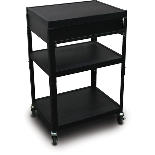 "Marvel Vizion Spartan Series MV2642 24 x 18"" Height-Adjustable A/V Cart with 1 Pull-Out Front Shelf (Black)"