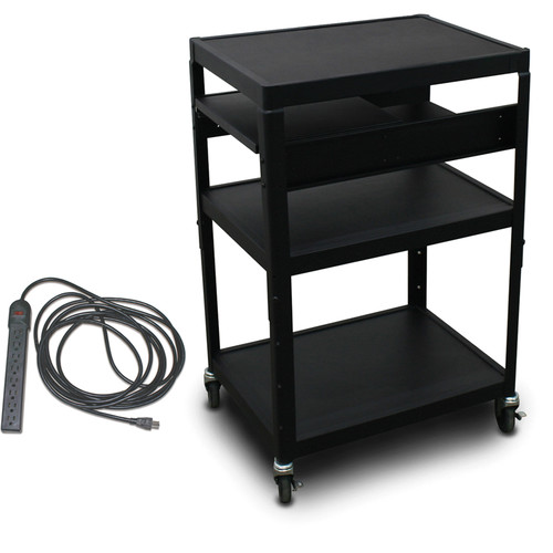 "Marvel Vizion Spartan Series MV2642 24 x 18"" Height-Adjustable A/V Cart with 2 Pull-Out Side Shelves & UL Listed 8-Outlet Electrical Unit (Black)"