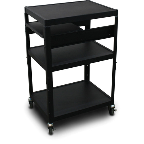 "Marvel Vizion Spartan Series MV2642 24 x 18"" Height-Adjustable A/V Cart with 1 Pull-Out Side Shelf (Black)"