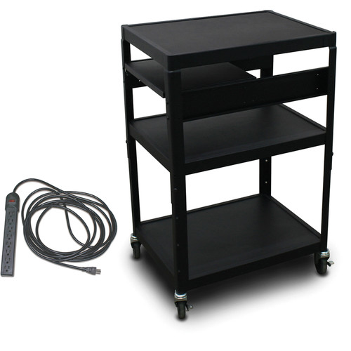"Marvel Vizion Spartan Series MV2642 24 x 18"" Height-Adjustable A/V Cart with 1 Pull-Out Side Shelf & UL Listed 8-Outlet Electrical Unit (Black)"