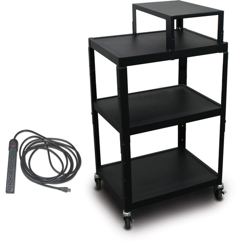 "Marvel Vizion Spartan Series MV2642 24 x 18"" Height-Adjustable A/V Cart with Expansion Shelf & UL Listed 8-Outlet Electrical Unit (Black)"