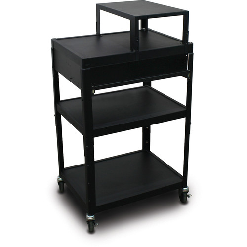 """Marvel Vizion Spartan Series MV2642 24 x 18"""" Height-Adjustable A/V Cart with with Expansion Shelf & 1 Pull-Out Front Shelf (Black)"""