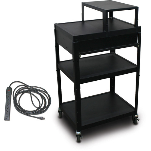 """Marvel Vizion Spartan Series MV2642 24 x 18"""" Height-Adjustable A/V Cart with with Expansion Shelf, 1 Pull-Out Front Shelf, & UL Listed 8-Outlet Electrical Unit (Black)"""