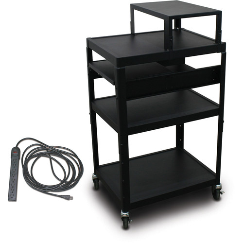 "Marvel Vizion Spartan Series MV2642 24 x 18"" Height-Adjustable A/V Cart with with Expansion Shelf, 2 Pull-Out Side Shelves, & UL Listed 8-Outlet Electrical Unit (Black)"