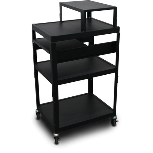 "Marvel Vizion Spartan Series MV2642 24 x 18"" Height-Adjustable A/V Cart with with Expansion Shelf & 1 Pull-Out Side Shelf (Black)"