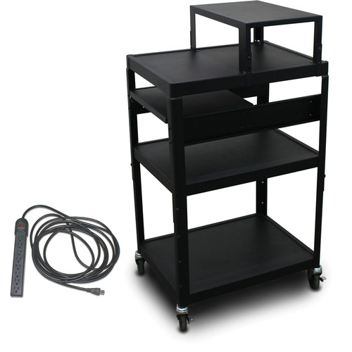"Marvel Vizion Spartan Series MV2642 24 x 18"" Height-Adjustable A/V Cart with with Expansion Shelf, 1 Pull-Out Side Shelf, & UL Listed 8-Outlet Electrical Unit (Black)"
