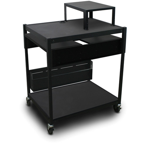 Marvel Spartan Series Adjustable Cart with 2 Pull-Out Side Shelves and Expansion Shelf