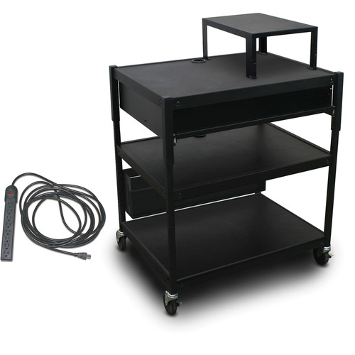 Marvel Spartan Series Adjustable Cart with 1 Pull-Out Front Shelf, Expansion Shelf, and Electrical Cord