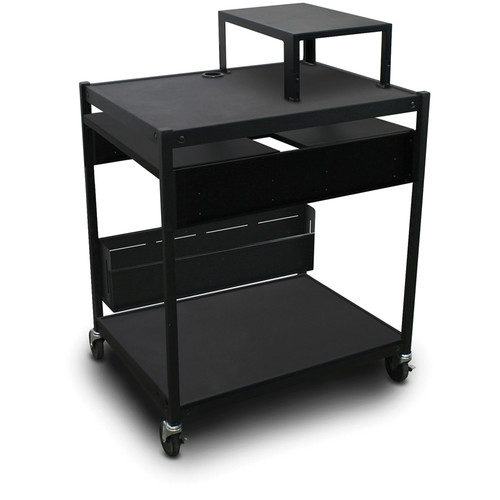 Marvel Spartan Series MVBFES2432-01 Media Projector Cart with 2 Pull-Out Side Shelves, Expansion Shelf, and Bin (Black)