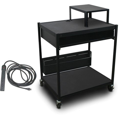 Marvel Spartan Series MVBFES2432-01E Media Projector Cart with 1 Pull-Out Front Shelf, Expansion Shelf, 8-Outlet Electrical Unit, and Bin (Black)