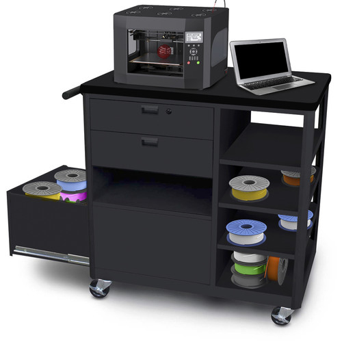 Marvel Mobile 3D Printer Cart with Two Front Locking Drawers and Four Side Shelves (Black Steel)