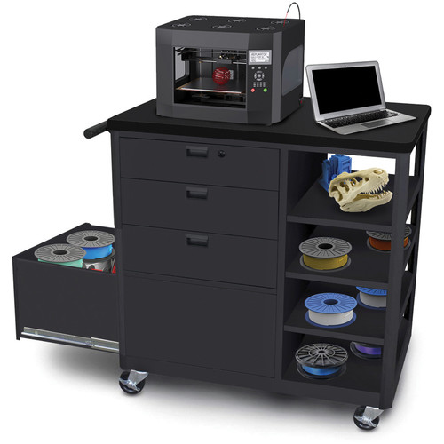 Marvel Mobile 3D Printer Cart with Three Front Locking Drawers and Four Side Shelves (Black Steel)