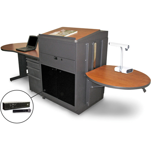 Marvel Vizion Stationary Teacher's Desk with Adjustable Platform, Lectern, Acrylic Doors, and Handheld Microphone (Cherry Laminate)