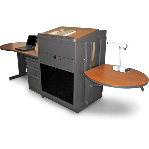 Marvel Vizion Stationary Teacher's Desk with Adjustable Platform, Lectern, and Acrylic Doors (Cherry Laminate)