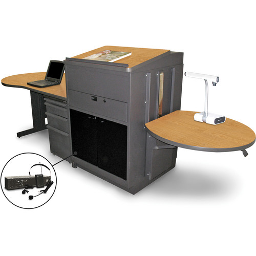 Marvel Vizion Stationary Teacher's Desk with Adjustable Platform, Lectern, Acrylic Doors, and Over-Ear Microphone (Oak Laminate)