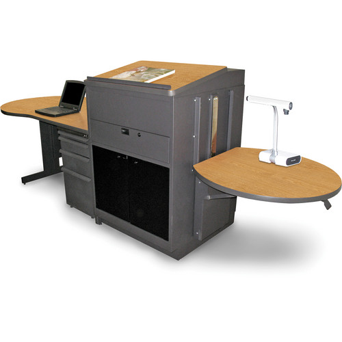 Marvel Vizion Stationary Teacher's Desk with Adjustable Platform, Lectern, and Acrylic Doors (Oak Laminate)