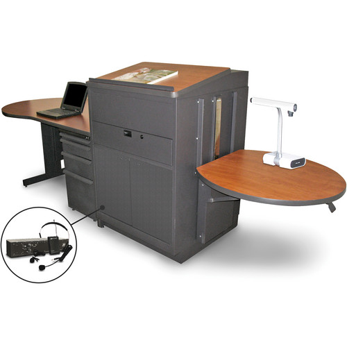 Marvel Vizion Stationary Teacher's Desk with Adjustable Platform, Lectern, Steel Doors, and Over-Ear Microphone (Cherry Laminate)