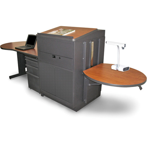 Marvel Vizion Stationary Teacher's Desk with Adjustable Platform, Lectern, and Steel Doors (Cherry Laminate)
