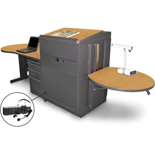 Marvel Vizion Stationary Teacher's Desk with Adjustable Platform, Lectern, Steel Doors, and Over-Ear Microphone (Oak Laminate)