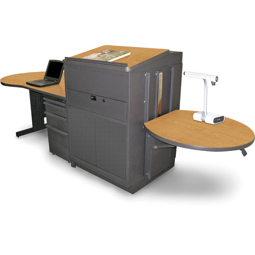 Marvel Vizion Stationary Teacher's Desk with Adjustable Platform, Lectern, and Steel Doors (Oak Laminate)
