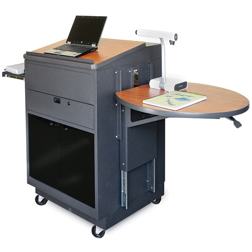 Marvel Vizion Media Center Cart with Lectern, Acrylic Doors, Adjustable Platform, and Wireless Over-Ear Microphone (Cherry Laminate)