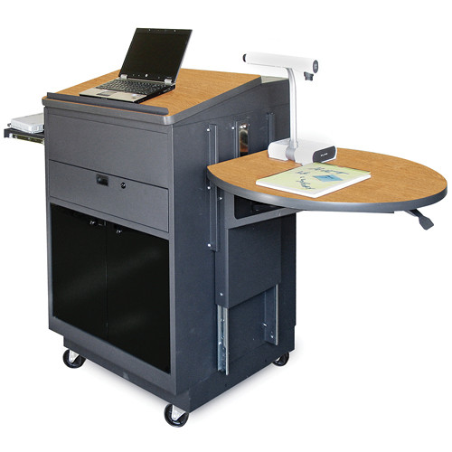 Marvel Vizion Media Center Cart with Lectern, Acrylic Doors, Adjustable Platform, and Wireless Over-Ear Microphone (Oak Laminate)