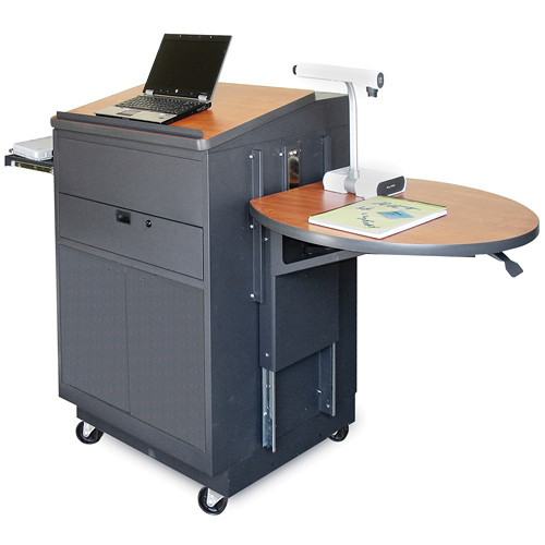 Marvel Vizion Media Center Cart with Lectern, Steel Doors, Adjustable Platform, and AmpliVox Over-Ear Microphone (Cherry Laminate)