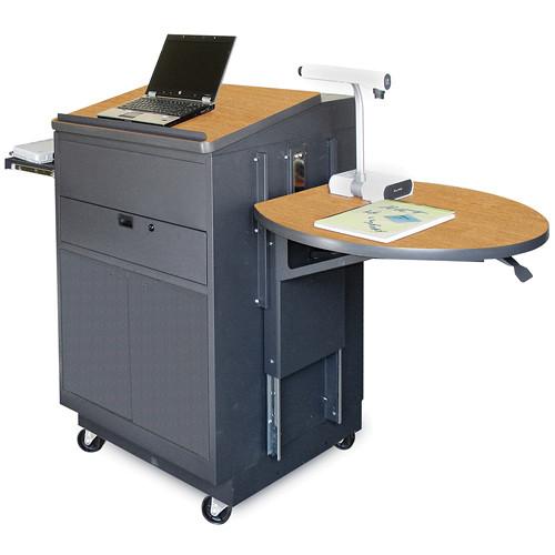 Marvel Vizion Media Center Cart with Lectern, Steel Door and Adjustable Platform (Oak Laminate)