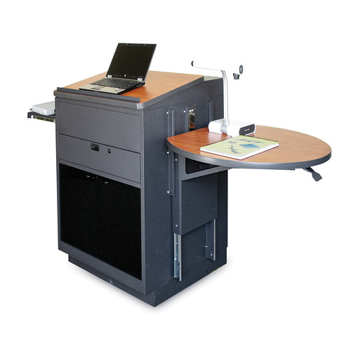 Marvel Vizion Stationary Media Center with Lectern, Acrylic Doors and Adjustable Platform (Cherry Laminate)