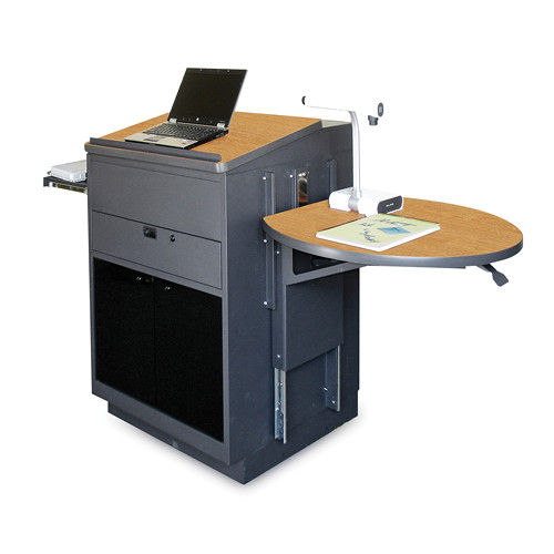 Marvel Vizion Stationary Media Center with Lectern, Acrylic Doors and Adjustable Platform (Oak Laminate)